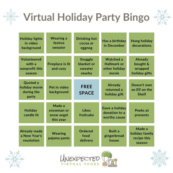 Holiday Bingo for Virtual Holiday Party